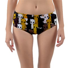 Cute Cats Pattern Reversible Mid Waist Bikini Bottoms