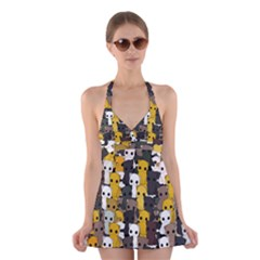 Cute Cats Pattern Halter Swimsuit Dress