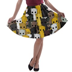 Cute Cats Pattern A Line Skater Skirt