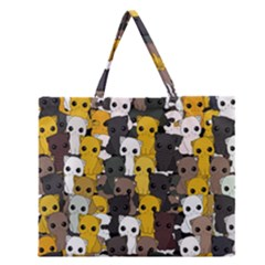 Cute Cats Pattern Zipper Large Tote Bag
