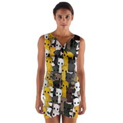 Cute Cats Pattern Wrap Front Bodycon Dress