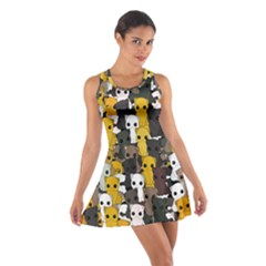 Cute Cats Pattern Cotton Racerback Dress