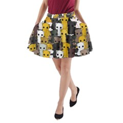 Cute Cats Pattern A Line Pocket Skirt