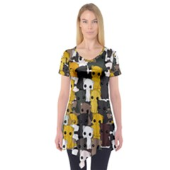 Cute Cats Pattern Short Sleeve Tunic