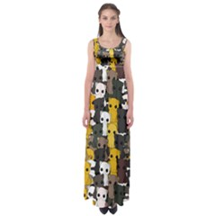 Cute Cats Pattern Empire Waist Maxi Dress