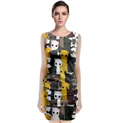 Cute Cats Pattern Classic Sleeveless Midi Dress