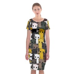 Cute Cats Pattern Classic Short Sleeve Midi Dress