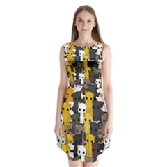 Cute Cats Pattern Sleeveless Chiffon Dress