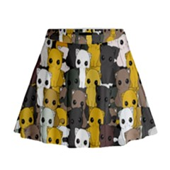Cute Cats Pattern Mini Flare Skirt