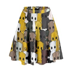 Cute Cats Pattern High Waist Skirt