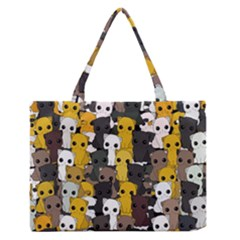 Cute Cats Pattern Zipper Medium Tote Bag