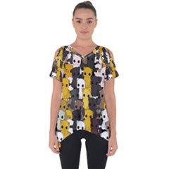Cute Cats Pattern Cut Out Side Drop Tee