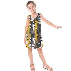 Cute Cats Pattern Kids  Sleeveless Dress