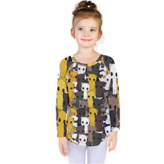 Cute Cats Pattern Kids  Long Sleeve Tee