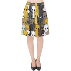 Cute Cats Pattern Velvet High Waist Skirt
