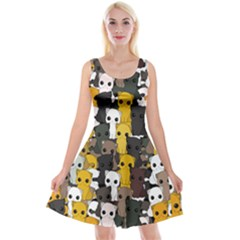 Cute Cats Pattern Reversible Velvet Sleeveless Dress