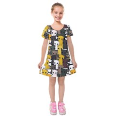 Cute Cats Pattern Kids  Short Sleeve Velvet Dress
