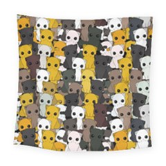 Cute Cats Pattern Square Tapestry (large)