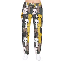 Cute Cats Pattern Drawstring Pants