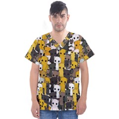 Cute Cats Pattern Men s V Neck Scrub Top