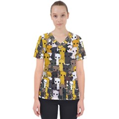 Cute Cats Pattern Scrub Top