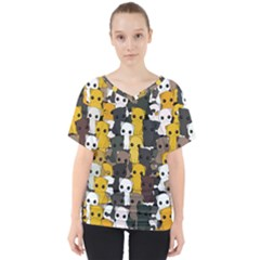 Cute Cats Pattern V Neck Dolman Drape Top