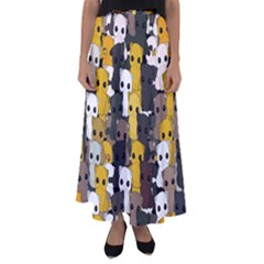 Cute Cats Pattern Flared Maxi Skirt