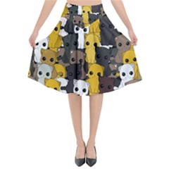 Cute Cats Pattern Flared Midi Skirt