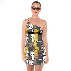 Cute Cats Pattern One Soulder Bodycon Dress