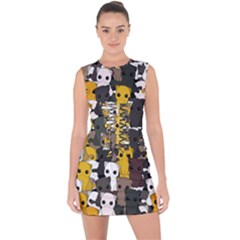 Cute Cats Pattern Lace Up Front Bodycon Dress