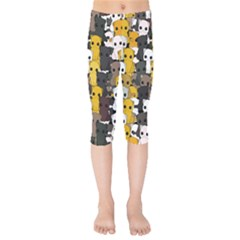 Cute Cats Pattern Kids  Capri Leggings