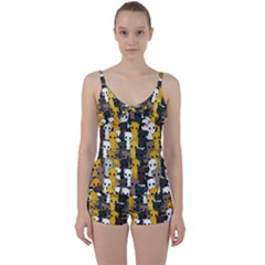 Cute Cats Pattern Tie Front Two Piece Tankini