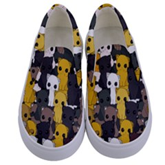 Cute Cats Pattern Kids  Canvas Slip Ons