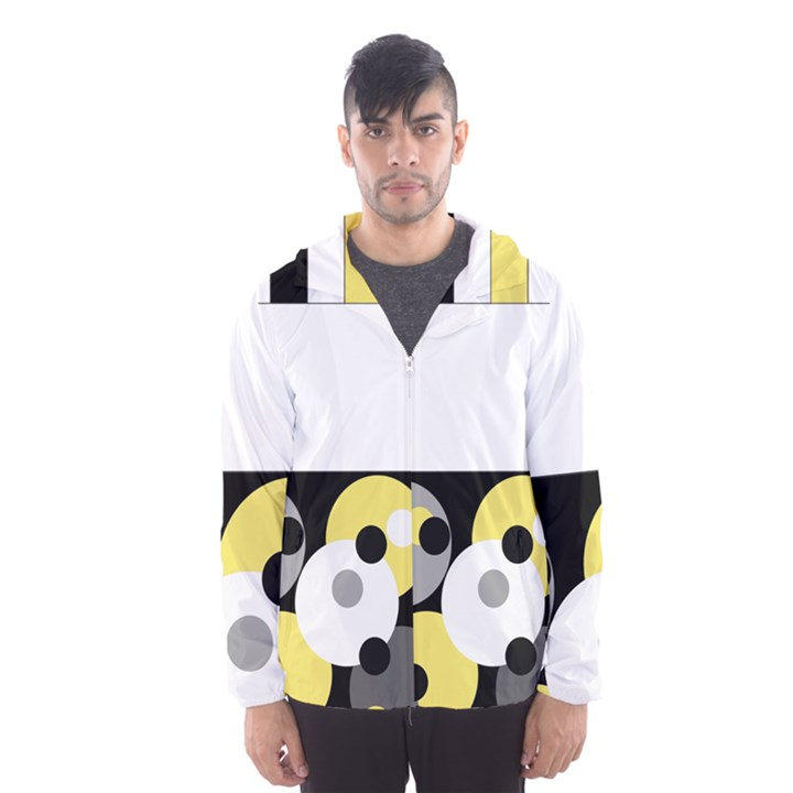 Black, Gray, Yellow Stripes and Dots Hooded Wind Breaker (Men)
