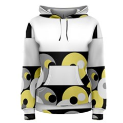 Black, Gray, Yellow Stripes And Dots Women s Pullover Hoodie