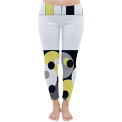 Black, Gray, Yellow Stripes And Dots Classic Winter Leggings