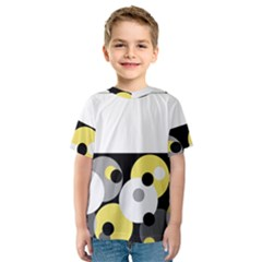 Black, Gray, Yellow Stripes And Dots Kids  Sport Mesh Tee