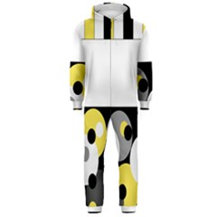 Black, Gray, Yellow Stripes And Dots Hooded Jumpsuit (men)