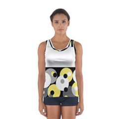 Black, Gray, Yellow Stripes And Dots Sport Tank Top