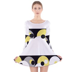 Black, Gray, Yellow Stripes And Dots Long Sleeve Velvet Skater Dress