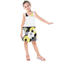 Black, Gray, Yellow Stripes And Dots Kids  Sleeveless Dress