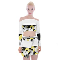 Black, Gray, Yellow Stripes And Dots Off Shoulder Top With Skirt Set