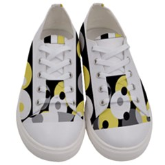 Black, Gray, Yellow Stripes And Dots Men s Low Top Canvas Sneakers