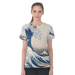 The Classic Japanese Great Wave Off Kanagawa By Hokusai Women s Cotton Tee