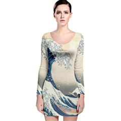 The Classic Japanese Great Wave Off Kanagawa By Hokusai Long Sleeve Velvet Bodycon Dress
