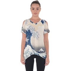 The Classic Japanese Great Wave Off Kanagawa By Hokusai Cut Out Side Drop Tee