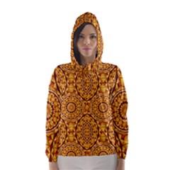 Golden Mandalas Pattern Hooded Wind Breaker (women)