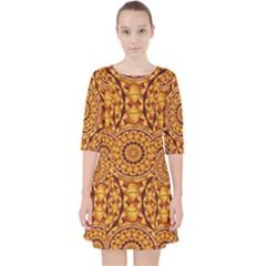 Golden Mandalas Pattern Pocket Dress