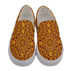 Golden Mandalas Pattern Women s Canvas Slip Ons