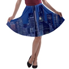 Space Needle Seattle Washington A Line Skater Skirt
